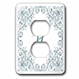 3dRose Uta Naumann Personal Monogram Initials - Letter H Personal Luxury Vintage Glitter Monogram-Personalized Initial - Light Switch Covers - 2 plug outlet cover (lsp_275307_6)