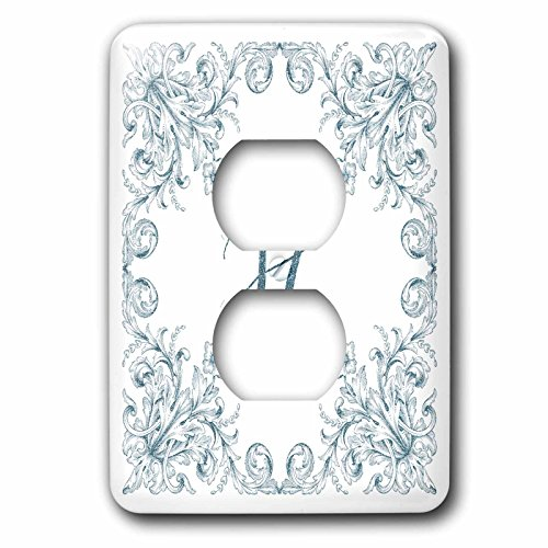 3dRose Uta Naumann Personal Monogram Initials - Letter H Personal Luxury Vintage Glitter Monogram-Personalized Initial - Light Switch Covers - 2 plug outlet cover (lsp_275307_6) by 3dRose