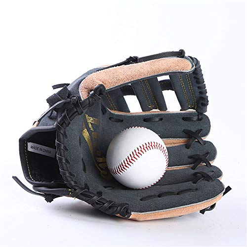 - Comfortable Baseball Sporting Gloves Thicken Outfield Pitcher Adult Leather Baseball Sporting Gloves Breathable (Color : Black)