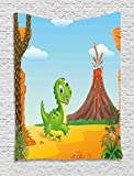 Ambesonne Kids Tapestry by, Cartoon Style Cute Baby Dinosaur Walking Prehistoric Land Jungle Volcano Illustration, Wall Hanging for Bedroom Living Room Dorm, 40WX60L Inches, Multicolor
