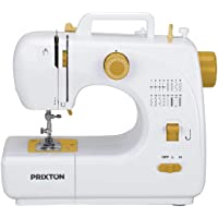 PRIXTON - Mini Maquina de Coser Portatil con Cajón para Accesorios, Lámpara Integrada y 16 Tipos de Puntadas Diferentes, Incluye Pedal, Dimensiones 26x25x11,5 cm | P120