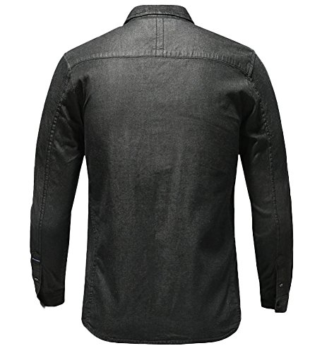 icegrey Hombres Denim de algodón de diseño de cuadros manga larga camisas negro