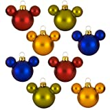 DISNEY OFFICIALLY LICENSED Rainbow Glass Mini Mickey Mouse Holiday Ornaments 8-Pc. Set