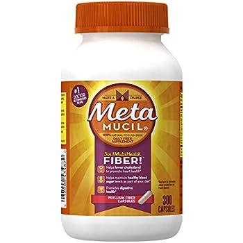 Metamucil Daily Fiber Supplement, Psyllium Husk Capsules, 300 Capsules