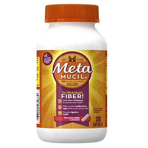 Metamucil Daily Fiber Supplement, Psyllium Husk Capsules, 300 Capsules - Metamucil Multihealth Fiber