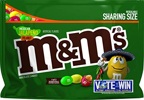 M&M's Chocolate Candy Flavor Vote Mexican Jalapeno Peanut Sharing Size, 9.6 Ounce Bag]()