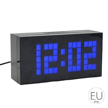Topker Gran Pantalla de la Pared del LED Digital Desk Relojes de Alarma Temporizador de Cuenta atrás con luz Nocturna Temperatura del Calendario para el ...