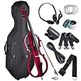 AW 4/4 Full Size Electric Silent Cello Solid Wood Powerful Sound with Hard Case Bow Rosin Red