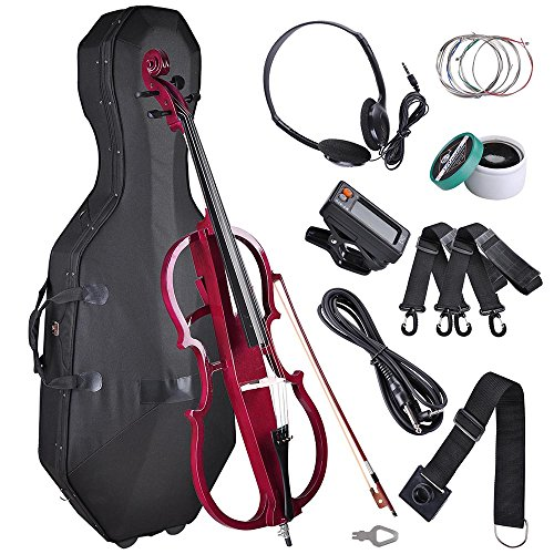 AW 4/4 Full Size Electric Silent Cello Solid Wood Powerful Sound with Hard Case Bow Rosin Red by AW