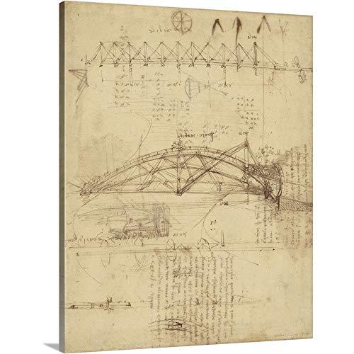 - Leonardo da Vinci Solid-Faced Canvas Print Wall Art Print Entitled Three Kinds of Movable Bridge, from Atlantic Codex 16