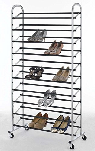 Shoe Tower Rack Chrome Metal Shoe Rack 50 Pair Free Standing 10 Tier