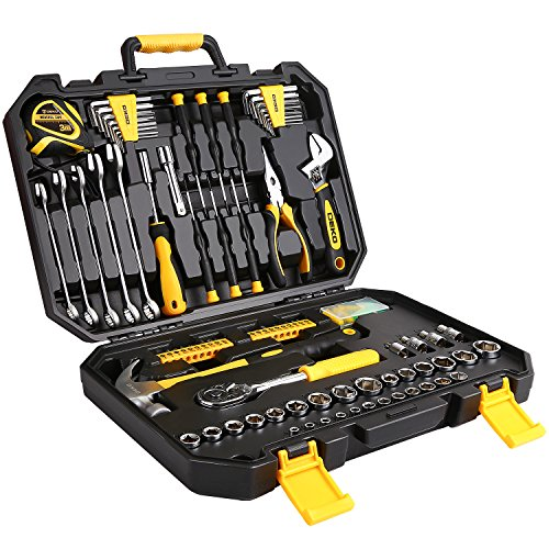 DEKO 128 Piece Socket Wrench Tool Set Auto Repair Mixed Tool Combination Package Hand Tool Kit with Plastic Toolbox Storage Case (Tool With Set Case)