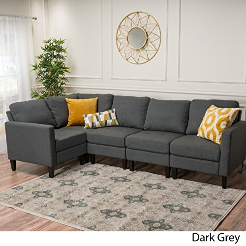 Enjoyable Christopher Knight Home 300121 Carolina Dark Grey Fabric Sectional Couch Machost Co Dining Chair Design Ideas Machostcouk