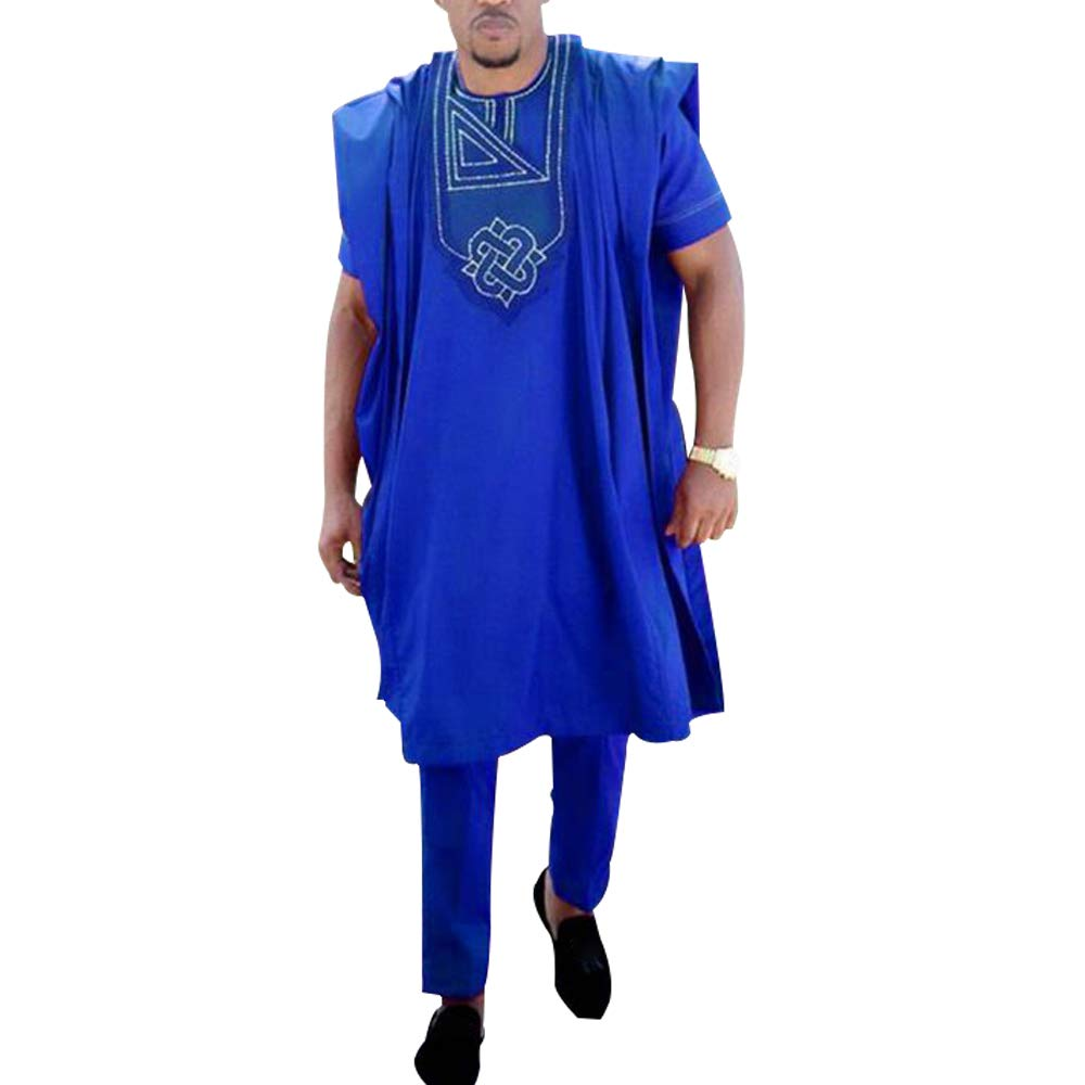 HD African Men Clothing Sets Dashiki Top Shirts and Pants Bazin Riche Outfits 3 Pieces Blue XL