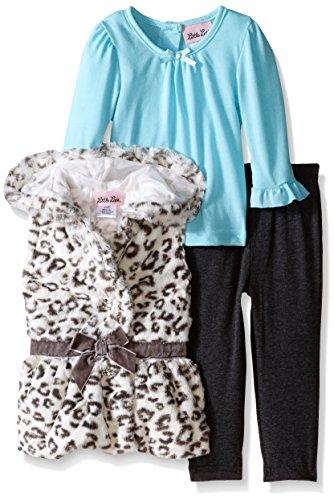 Little Lass Baby-Girls Infant 3 Piece Faux Fur Vest Set Ruffles, Grey Heather, 12 Months