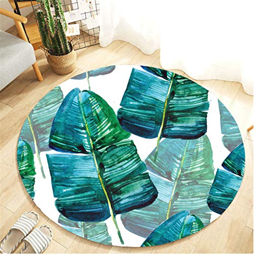Nivalkid Tropical Plant Leaves Comfortable Living Room Children's Carpet, Rugs Round Oriental Indoor Area Rug Fluffy Carpets Suitable for Children Bedroom Home Decor Nursery 40cm from Nivalkid