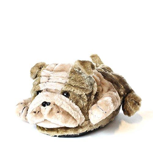 Sleeper'z Hausschuhe Englische Bulldogge - Rutschfeste Plüsch Tierhausschuhe