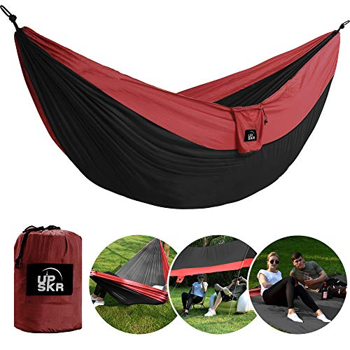 UPSKR Camping Hammock Double & Single Waterproof Lightweight Parachute Heavy-Duty Carabiners with Tree Straps - USA Based Hammocks Brand Gear, Indoor Outdoor Backpacking Survival & Travel, Portable