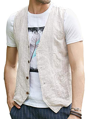 (Runcati Mens Linen Cotton Suit Button Up Vest Casual Striped Basic Lightweight Slim Fit Pockets Waistcoat White)