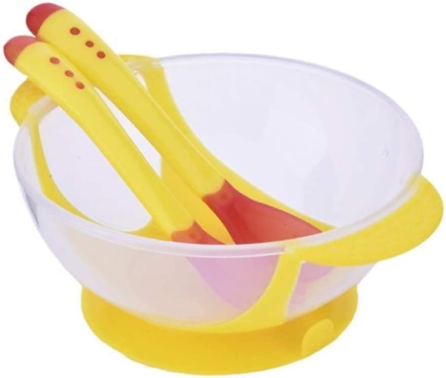 Pink Suction Stay Put Feeding Bowl Great for Baby LED WEANING Baby Suction Bowl and Matching Spoon Set