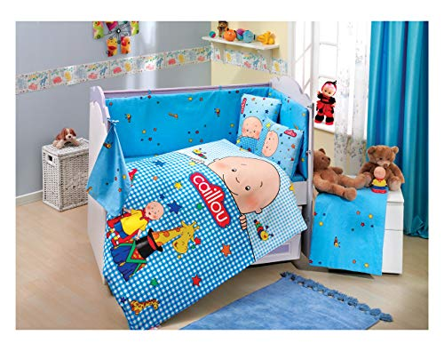 Gold Case Caillou - Licenced Baby Deluxe Duvet Cover Set - 100% Cotton - 4 Pieces (Blue) - Made in Turkey from Gold Case
