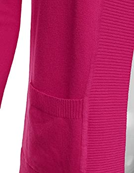 Jj Perfection Women's Open Front Knit Long Sleeve Pockets Sweater Cardigan Hotpink S 4