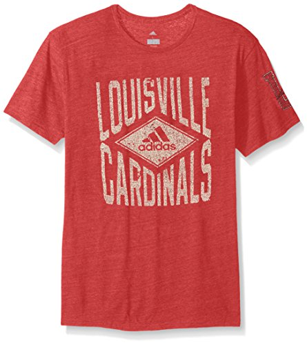 NCAA Louisville Cardinals Adult Men Diamond Mine Tri-Blend S/Tee, XX-Large, Power Red - Cardinals Tri Blend