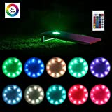 heartbeats LED Cornhole Lights Ring kit,16 Colors Multicolor Changing Type, Set of 2 pcs, Board Hole Lights, Toss Bean Bag Game Lights Backyard Board Game Lights,Tailgate Game,Remote Control