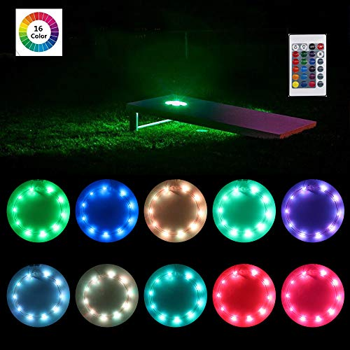 heartbeats LED Cornhole Light Ring kit,16 Colors Changeable Type, Set of 2 pcs, Board Hole Lights, Toss Bean Bag Game Lights Backyard Board Game Lights,Tailgate Game Color Changing,Remote Control ()