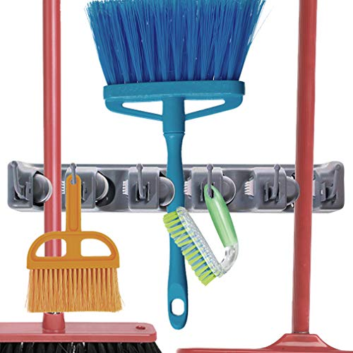 Broom Holder - Household Accessory Rack - Holds Mops, Brooms, Rakes or Gardening Tools - Hooks for Hanging Keys, Jackets, Umbrellas, Gloves and ()