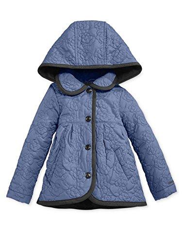 London Fog Infant Girls Quilted Periwinkle Blue Rose Barn Jacket Light Coat