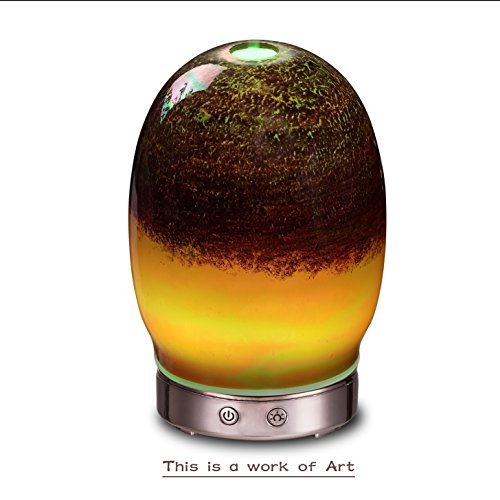AA Art Glass Metallic Egg Aroma Essential Oil Diffuser Aromatherapy Humidifier 120ml Housing with 14-Color LED Light