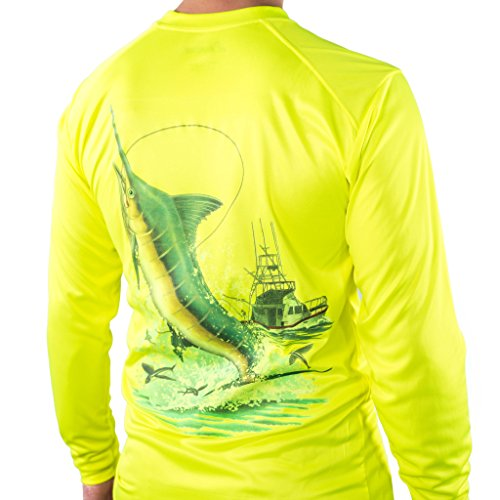 All-American Fishing Performance Dri Fit Shirt - Mens Long Sleeve X-Large Yellow