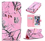 iPhone 6S Plus Case, iPhone 6 Plus Case, ArtMine Pink Tree Camo Durable Premium PU Leather Flip Folio Book Style Wallet Case Protective with Credit/ID Card Slot for Apple iPhone 6S/6 Plus