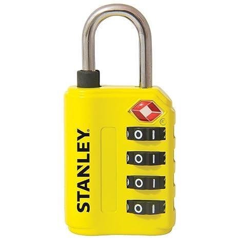 Stanley 81152393401 Candado de combinación de 4 dígitos con indicador de Seguridad, Amarillo, 30
