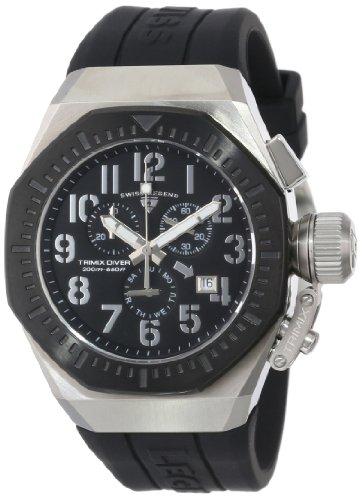 Swiss Legend Men's 10540-01-BB Trimix Diver Chronograph Black Dial Black Silicone - Legend Watches Swiss Men