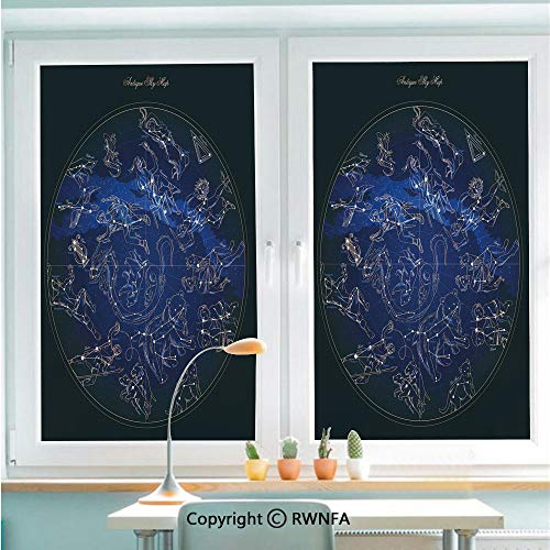 RWNFA Window Films Privacy Glass Sticker Antique Sky Map with Hand Drawn Mythological Figures History Galaxy Static Decorative Heat Control Anti UV 22.8In by 35.4In,Blue Dark Blue Beige