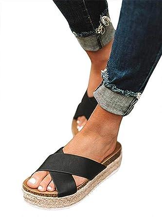 ea38a27ab13 SurBepo Women s Platform Espadrilles Slide Sandals Criss Cross Slide-on  Open Toe Faux Leather Summer Flat Sandals