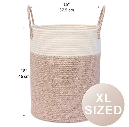 """OrganiHaus XL Large Rope Laundry Basket – Tastefully Appointed Extra Large Decorative Hamper, 100% Natural Cotton Storage Basket, Rope Basket, Toy Basket, Blanket Basket, Pillow Basket - 15"""" x 18"""" - ⭐️ LOVELY OFF WHITE WITH WICKER BROWN BASE - This has a pure, natural vibe and beautiful look. These go well in any room in your home. The Jongui is a special creation our customers love. Choose from two popular sizes. Many people buy both to fully outfit their living room, laundry, and bedroom. 100% natural hand woven basket you won't want to be without ⭐️ CHOOSE FROM TALL OR WIDE SHAPED - This tall basket makes a natural way to store and organize clothing, big pillows, blankets, kids toys, and a variety of supplies and craft accessories. We like how one is quite compact for small spaces while the oversized basket spreads out to accommodate bulkier items like large blankets and throw pillows ⭐️ ECO-FRIENDLY NATURAL HANDMADE cotton rope has no plastic, harsh chemicals, toxins, or harmful additives. Safe for kids and perfect for nursery storage too. Big easy-carry handles make this basket the most portable. Compare to other baskets with small handles that need both hands to carry or plastic ones that hurt you - laundry-room, hampers-baskets, entryway-laundry-room - 51i%2B5OSJNtL -"""