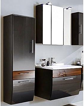 Badmobel Set 3 Teilig Hochglanz Anthrazit Walnuss Badezimmer Komplettset Spiegelschrank Mit Led Beleuchtung Waschtisch Mit Unterschrank Hochschrank Amazon De Baumarkt