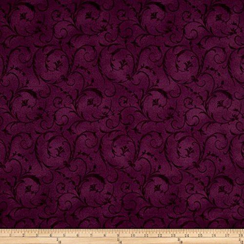 "Maywood Studio 108"" Beautiful Backing Elegant Scroll Plum Fabric by The Yard"