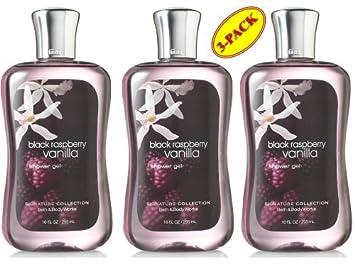 Bath Body Works Black Raspberry Vanilla Shower Gel 10 Oz SET of Three