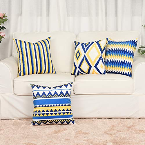 YINNAZI Geometric Pattern Double-Sided Printing Velvet Square Throw Pillow Cases Decorative Cushion Covers for Couch Sofa Chair Bench 18 Inch Set of 4 Blue Navy and Yellow (Velvet Couch Yellow)