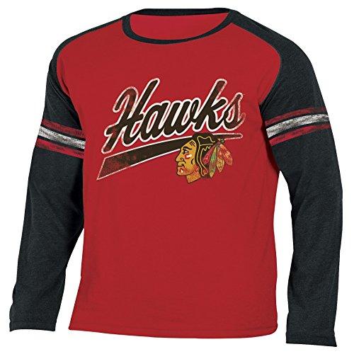 NHL Chicago Blackhawks National Hockey League Long Sleeve Tee, Large, Heather Athletic Red