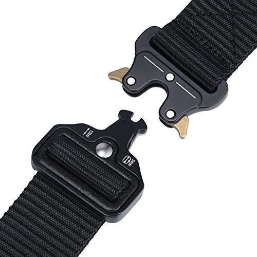 Military Tactical Belt,Quick Release Buckle, Long 43''-55'' Wide1.5'',Heavy Duty Waist Belt (Black, 47 inch) by MarkPorda (Image #1)