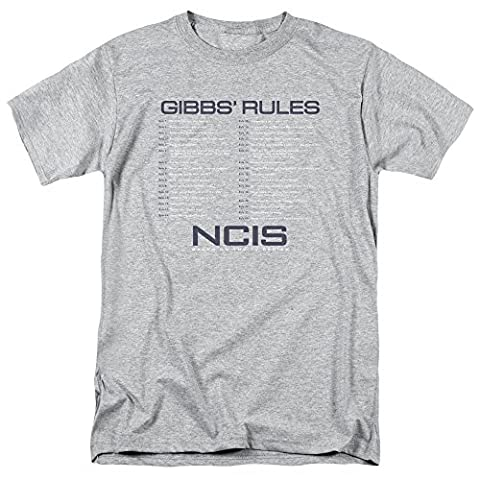 NCIS TV Show Gibbs' Rules Adult Mens T-shirt Heather Grey (Large) (Ncis La Stuff)
