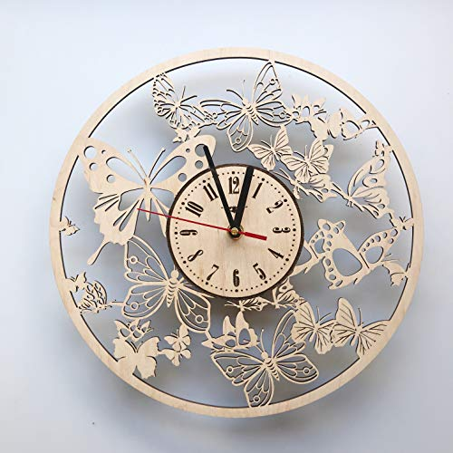7ArtsStudio Butterfly Wall Clock Made of WOOD – Perfect and Beautifully Cut – Decorate your Home with MODERN ART – UNIQUE GIFT for Him and Her – Size 12 Inches
