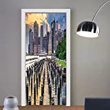Gzhihine custom made 3d door stickers Cityscape New York Urban American Architecture Metropolis High Buildings USA Artful Image Silver Blue For Room Decor 30x79