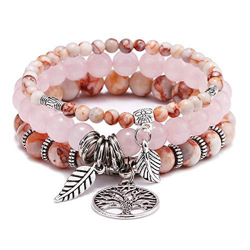 FUTTMI Tree of Life Semi Precious Original Design Crystals and Healing Stones Yoga Beaded Bracelets Beach Charm Bracelet Set for Women Girls, Ocean -