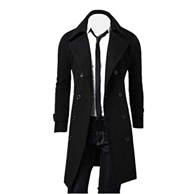 72723623cfc5 Anglewolf Winter Men Slim Stylish Trench Coat Double Breasted Long Jacket  Parka Outwear (M,